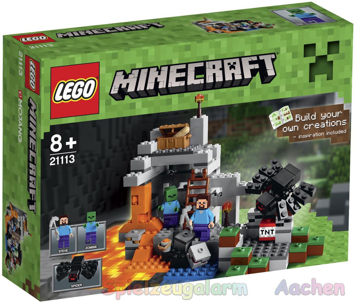 LEGO 21113 Minecraft la grossota con Steve zombie ragno La grossota le grossote BINSB