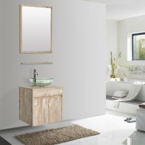 24 Wall Mounted Bathroom Vanity Set Natural Tempered Glass Vessel Sink Combo Ebay