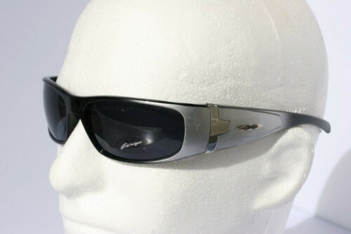 New Men X-Loop Sunglasses Silver with Black lens 2166 Motor-Cycle Shades Wrap