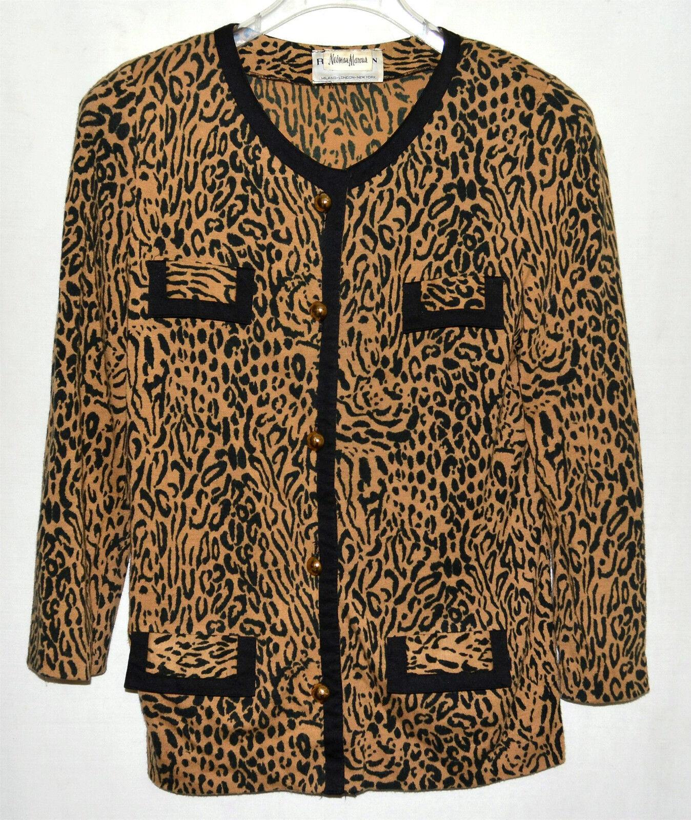 Robert Janan by Eva For Neiman Marcus Faux Leopard Print Blazer Blouse Size M