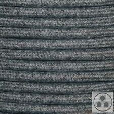 Textilkabel Stromkabel Stoffkabel Baumwolle schwarz-weiß 3 adrig