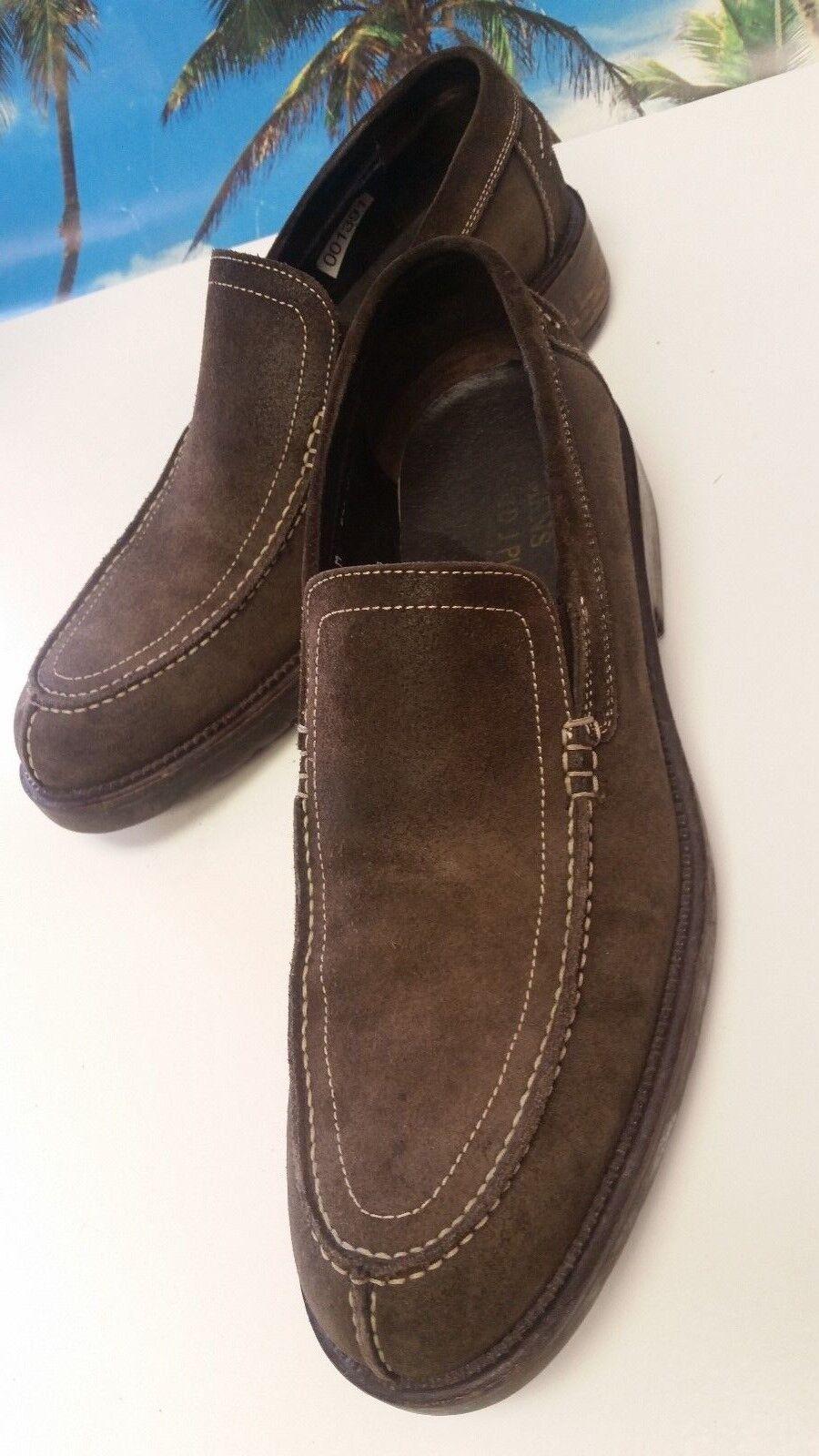 Donald J J Donald Pliner Brown Suede Casual Plain Toe Dress Loafer Shoe Men's Size 8 M aa1094