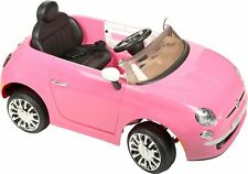 Fiat 500 6V Electric Ride On Car-Childrens Pink 1 Seater Musical Wheel Kids Car
