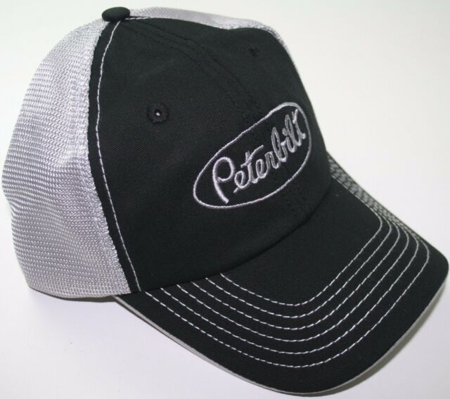 peterbilt white black embroidered mesh summmer trucker semi diesel truck  hat cap eb8cbe6af87b