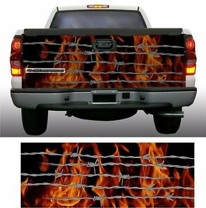 Flame Fire Barbed Wire Truck Tailgate Vinyl Graphic Decal Wraps EBay - Barb wire custom vinyl decals for trucks