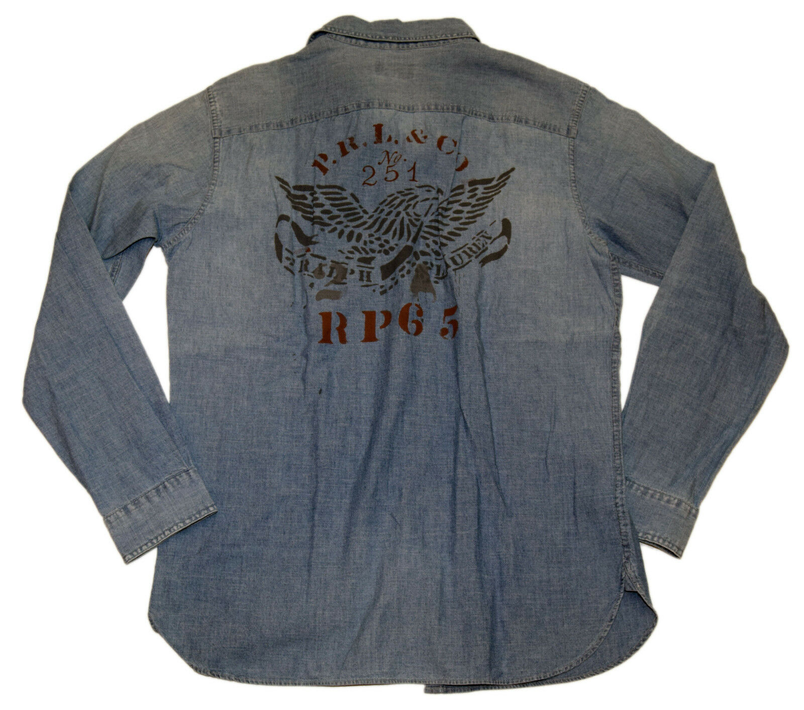 Polo Ralph Lauren Mens Jean Denim Vintage Moto Eagle Casual Shirt bluee Red Small