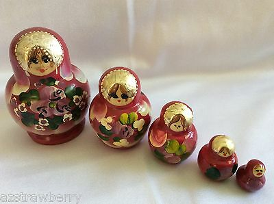 "VTG Traditional Russian USSR Nesting Doll Matryoshka 5 Pc set Hand made 3"" tall"