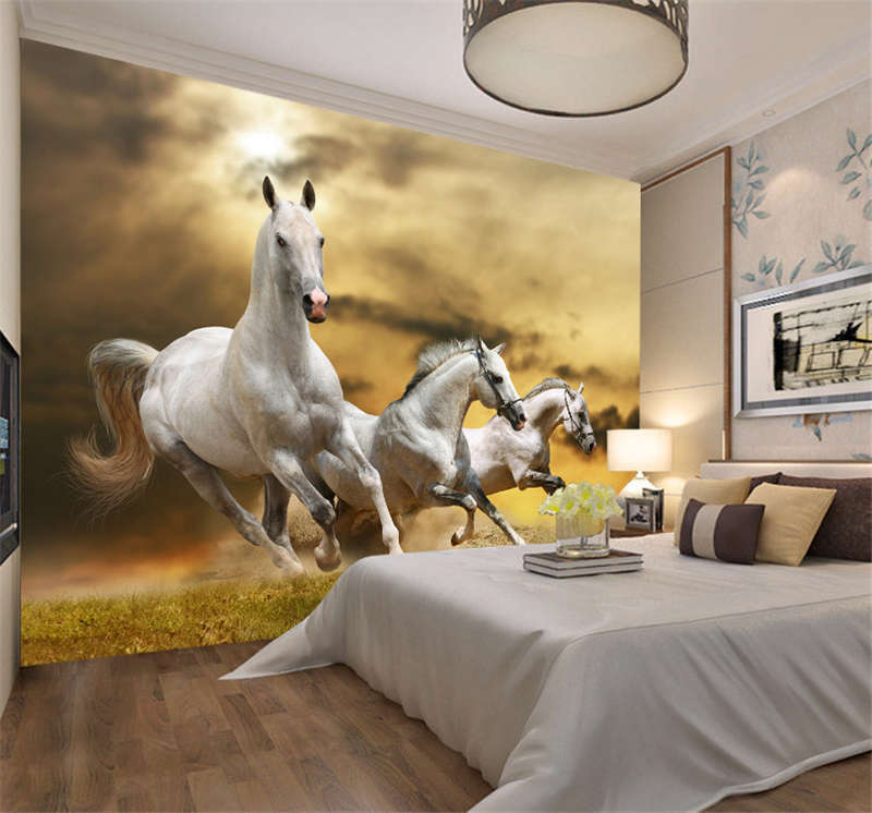 Three Weiß Horses Run Full Wall Mural Photo Wallpaper Print Kids Home 3D Decal