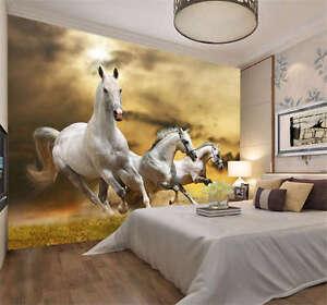 Three White Horses Run Full Wall Mural Photo Wallpaper Print Kids