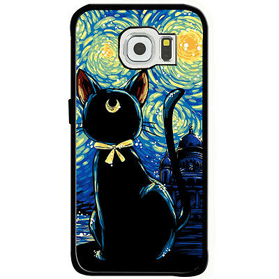 sailor moon cat starry night Samsung Galaxy s6 iphone6 iphone 6 plus Rubber case