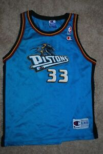 premium selection f1c82 31129 Details about #33 Grant Hill Detroit Pistons Teal Blue NBA Jersey (Youth  X-Large) Champion