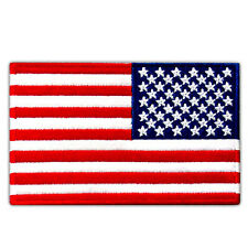 """VEGASBEE® USA FLAG US REVERSED EMBROIDERED PATCH RIGHT ARM IRON-ON SIZE 4""""x2.5"""""""