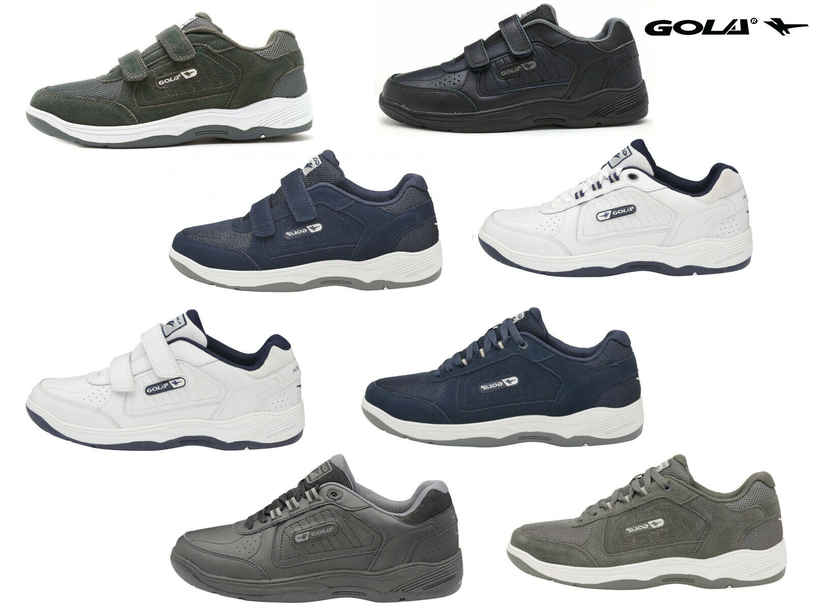 New Gola Belmont Wide Fit EE Mens Trainers 4 Colours Lace-Up Touch Strap 7-15 UK
