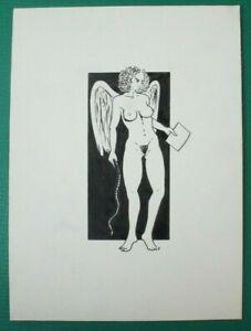 Erotica Akt Original Christian Roos Zeichnung Filzstift unsigniert O-16