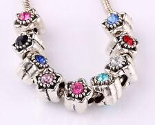10pcs mix LAMPWORK CZ big hole spacer beads fit Charm European Bracelet #B581