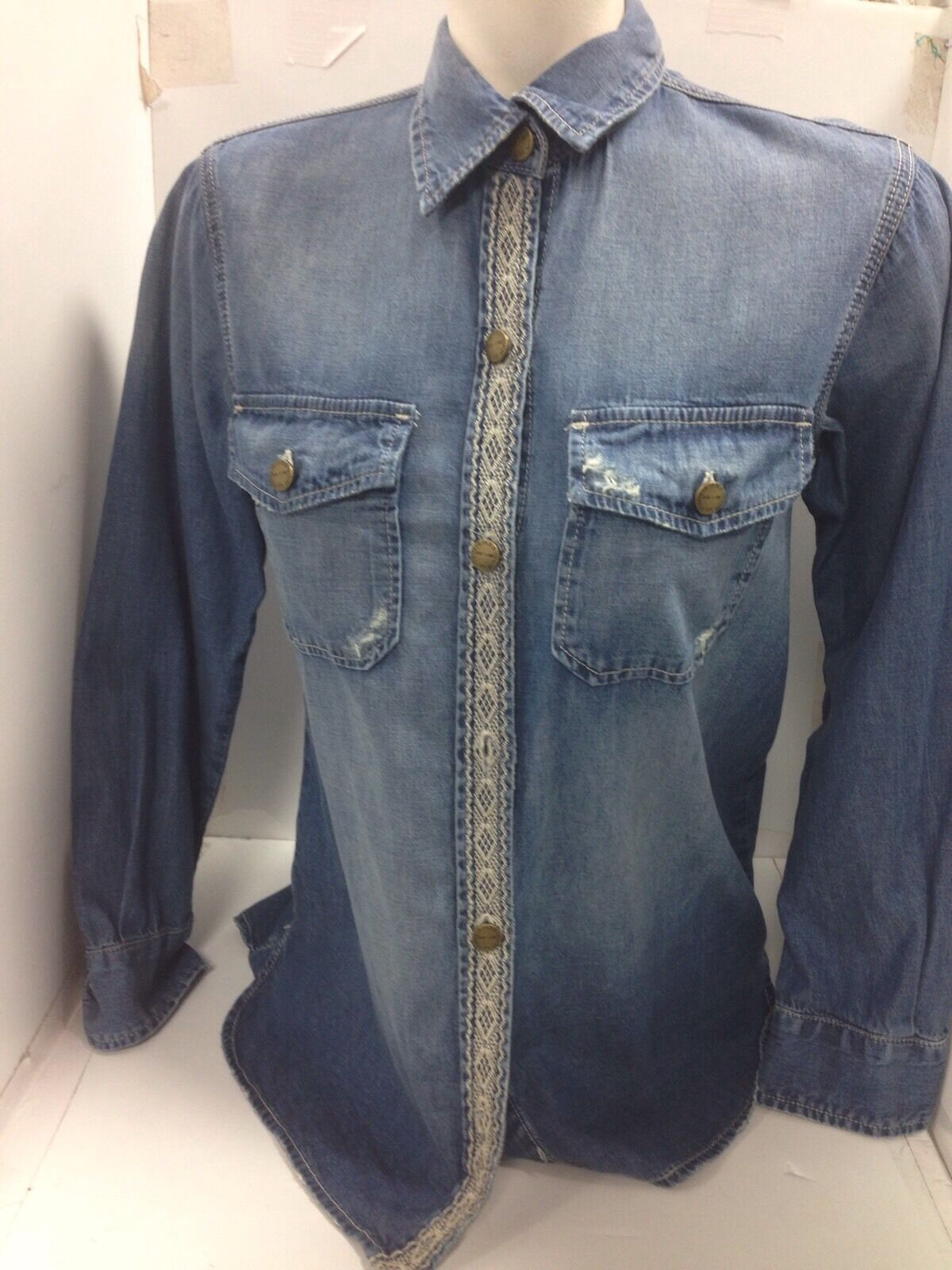 Current Elliott Shirt Blau Denim The Perfect Shirt Nwt  Größe 0