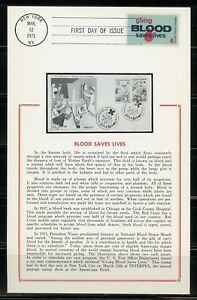 UNITED-STATES-1971-GIVING-BLOOD-ON-CARD-FIRST-DAY-CANCELLED