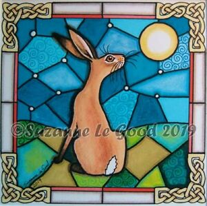 Hare-moon-art-print-stained-glass-from-original-painting-mounted-Suzanne-Le-Good