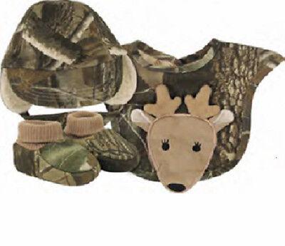 Boys Infant Realtree Camo Gift Set Hat Bib Booties Baby Deer