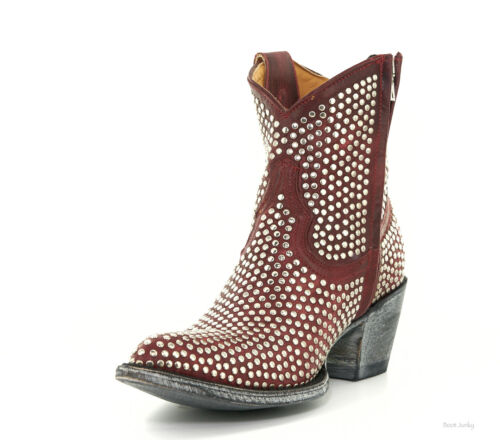 """L1042-3 OLD GRINGO AGUJAS ZIPPER RED LEATHER RIVETED 7/"""" ANKLE BOOTS"""