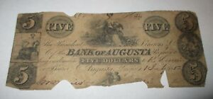 5-1852-Augusta-Georgia-GA-Obsolete-Currency-Bank-Note-Bill-The-Bank-of-Augusta