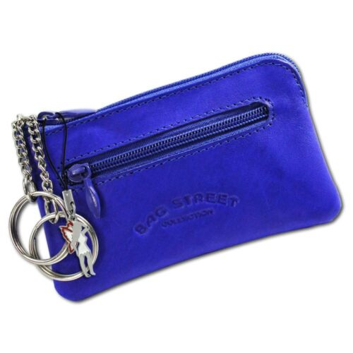 Bag Street glattes Leder Etui OPJ900B Schlüsseltasche blau Echtleder