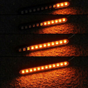 Motorcycle-Turn-Signal-Lights-Sequential-Flowing-12-LED-Strip-Amber-Accessories