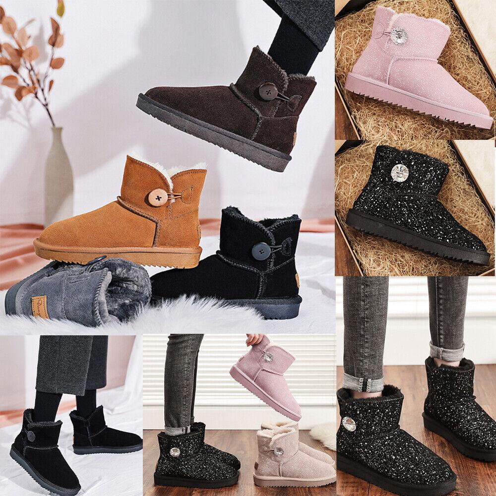 Ladies Ella Winter Boots Womens Faux Fur Sheepskin Mid Calf Button Warm Booties