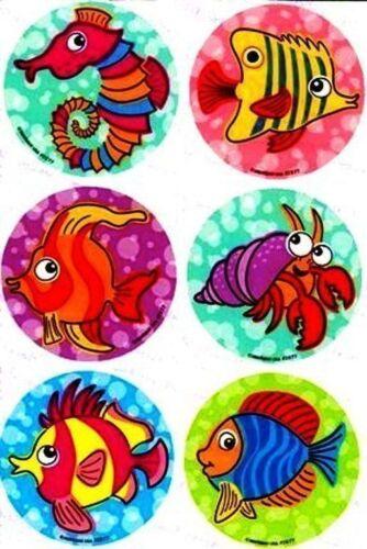 6 X pegatinas de círculo ~ peces tropicales Caballito de mar océano Fiesta Favores ~ De Concha De Cangrejo