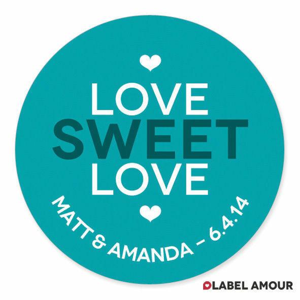 40 Personalised Wedding Sticker Seals Labels | Love Sweet Love | Choose Colour