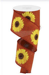 """10 Yds Of 2 1/2"""" Wired Rust Faux Burlap Ribbon With Bright Yellow Sunflowers"""