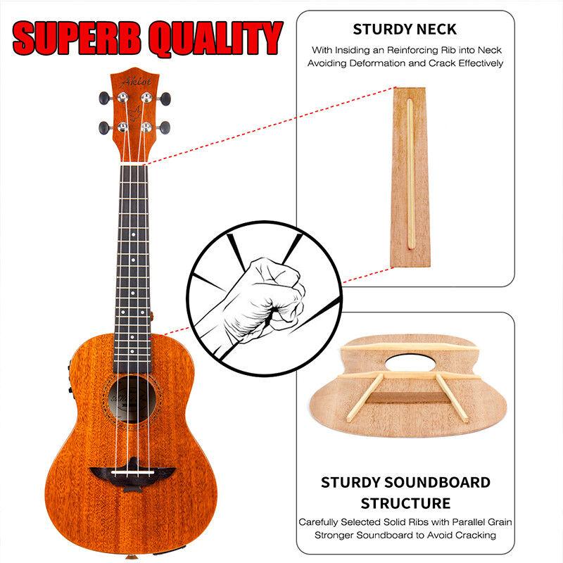 aklot solid mahogany electric tenor ukulele soprano concert ukelele uke guitar ebay. Black Bedroom Furniture Sets. Home Design Ideas