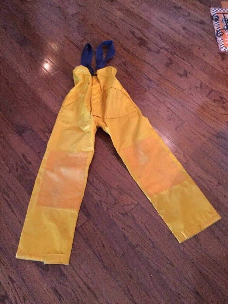 Vintage Sailing Nautical Mens High Seas Foul Weather Gear RUBBER Yellow Bib Pant