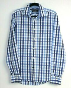 Herringbone-Sydney-Men-039-s-Long-Sleeve-Check-Blue-Shirt-Button-Up-Size-S