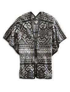 Lucky-Brand-Intarsia-Tie-Front-Poncho-Cardigan-Black-White-NWT-One-Size