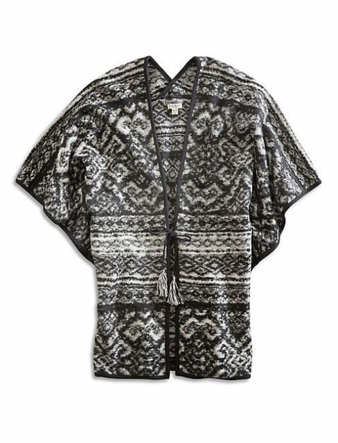 Lucky Brand Intarsia Tie-Front Poncho Cardigan Black White NWT One Size
