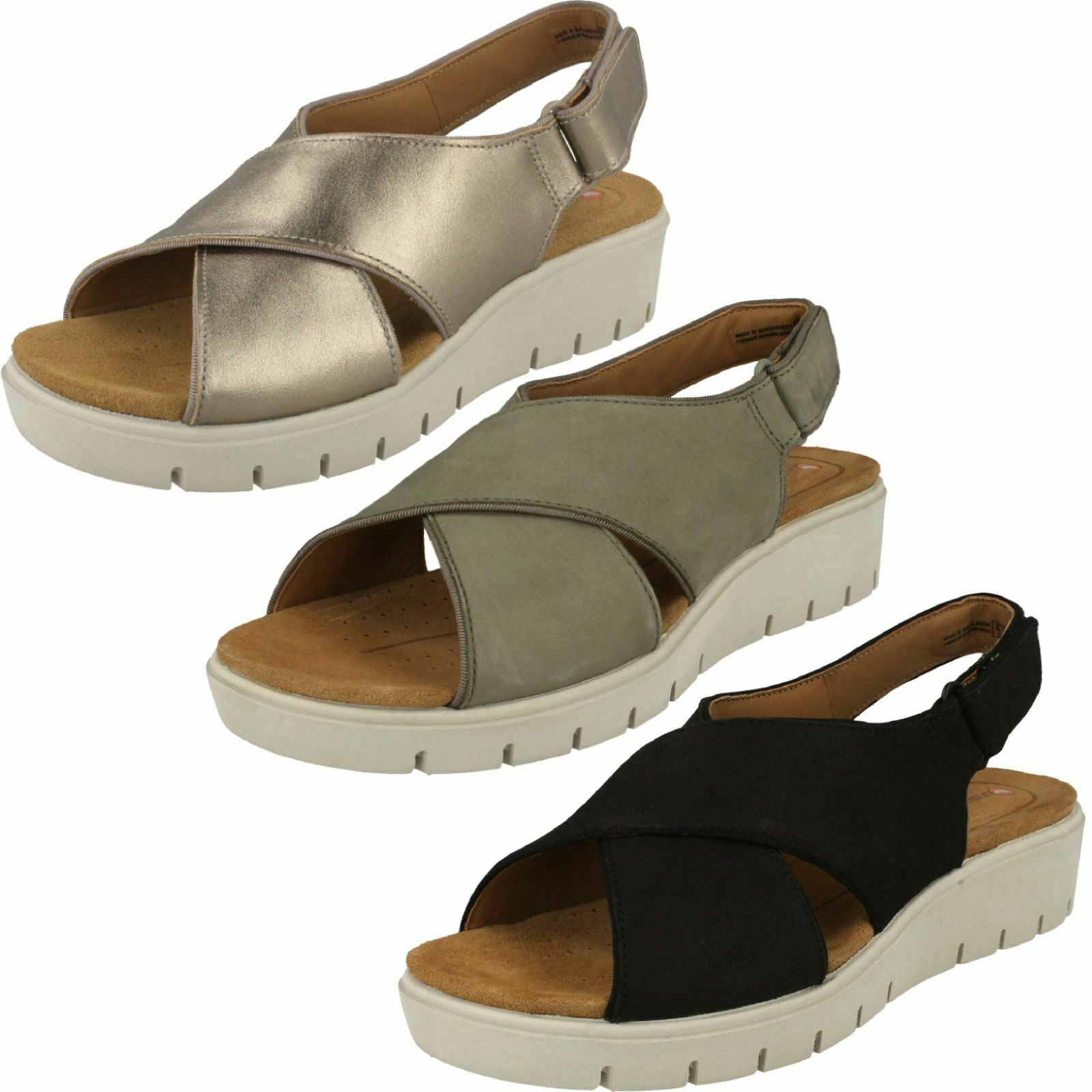 Ladies Clarks Unstructured Wedged Hook & Loop Leather Sandals Un Karely Sun