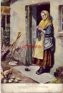 "IRISH PEASANT WOMAN IN DOORWAY ""OH, A GOOD WIFE IS THE BLESSIN'"" 1907"