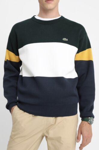 Lacoste Men/'s Crew Neck Colourblock Ribbed Cotton Sweater In Green//Cream//Navy