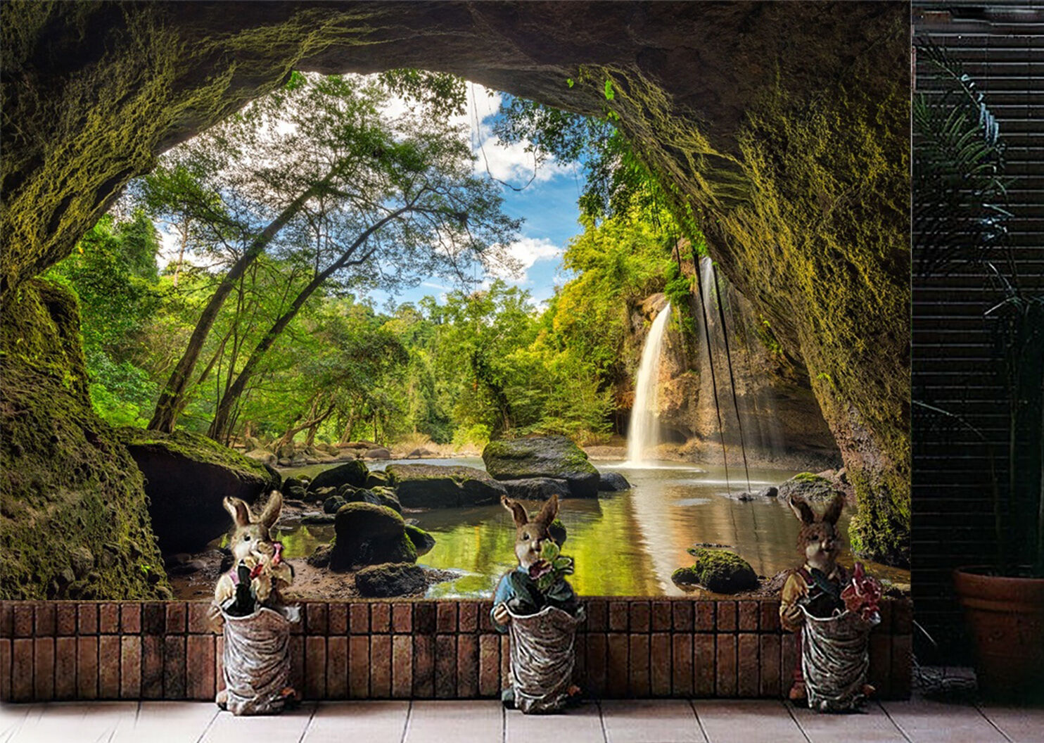 3D Cave, river 46 Wall Paper Print Wall Decal Deco Indoor Wall Murals