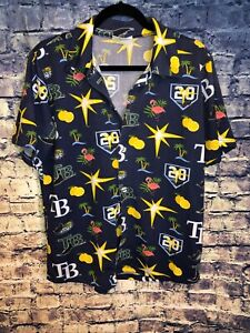 TAMPA-BAY-Devil-RAYS-20-ANNIVERSARY-ALL-OVER-PRINT-BUTTON-UP-Shirt-Mens-Size-M