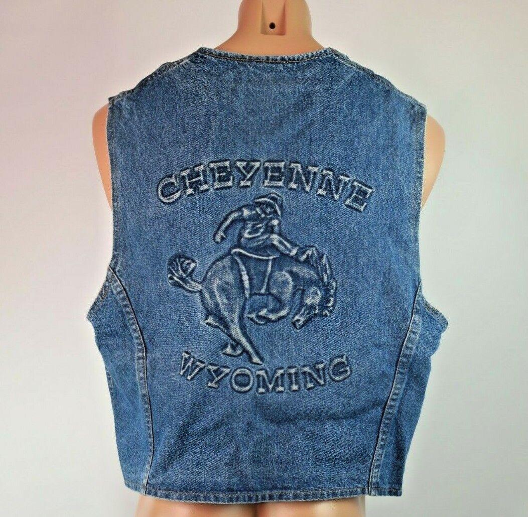 Tyca USA embossed western rodeo cowboy VTG 90s denim vest CHEYENNE WYOMING XL
