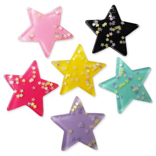 5pcs Large Glitter Star Resin Pendant Charm Kawaii Jewellry Craft Embellishment