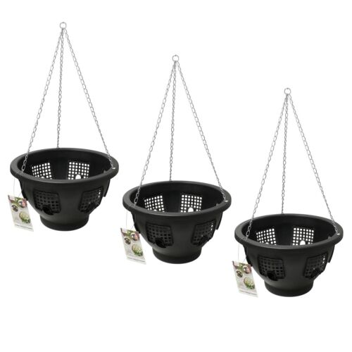 Flower Floral Hanging Basket Plant Pot Green Easy Fill Bloom Chain Garden Black