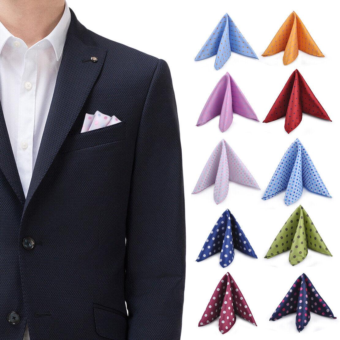 25cm Men Pocket Square Jacquard Handkerchief Polka Dot Handy Gift Wedding Party