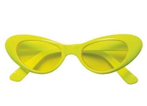 Neon Brille Katze 60er 70er Jahre Hippie Hippiebrille Fasching Karneval gelb