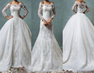Full Lace Mermaid Wedding Dresses With Detachable Train Off ...