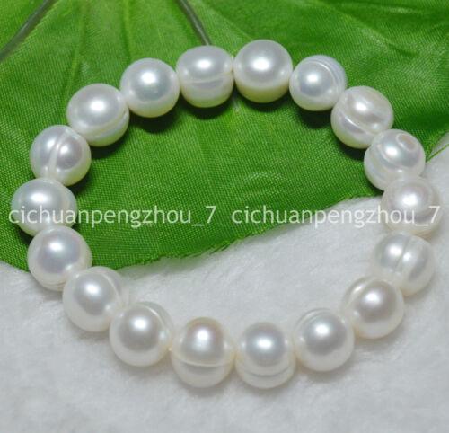 """11-12 Mm naturel des mers du sud Blanc perle baroque élastique Bracelets 7.5/"""""""