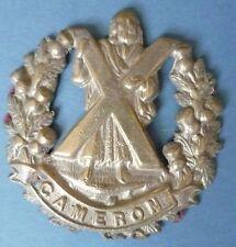 Badge- British army Cameron Highlanders Cap Badge Cast White Meal - RARE