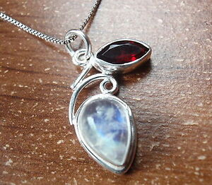 Faceted-Garnet-and-Moonstone-925-Sterling-Silver-Pendant-Corona-Sun-Jewelry